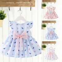 Infant Kid Baby Bowknot Toddler Girls Party Summer Clothes Casual Dress Sundress