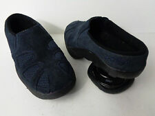 Z-COIL Womens 7M Navy Blue Suede Leather & Mesh ZUECO CLOG Mule Walking Shoe