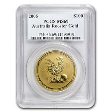 2005 1 oz Gold Lunar Year of the Rooster MS-69 PCGS (Series I) - SKU #69683