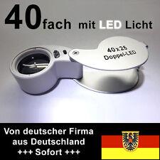 Briefmarken-Lupe, Fadenzähler, 40x, großes Linsensystem 25,4mm, mit LEDs