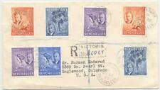 Seychelles 1952 registered cover, Victoria to the US