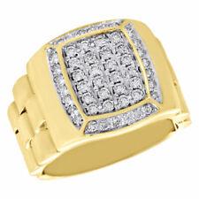 10K Yellow Gold Diamond Pinky Ring Mens Flexible Step Shank Tier Band 0.80 ct.