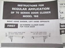 Corbin Instructions For Regular Application 70 Series Door Closer Model 166