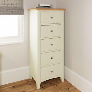White Narrow Chest of Drawers -  Painted Slim Bedroom Tallboy Oak Top - Merlo