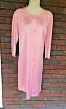 Vintage Vanity Fair Medium Robe Pink Duster Button Front Nylon USA Embroidery