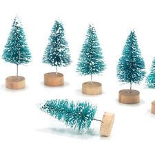 12Pcs Green Sisal Bottle Brush CHRISTMAS TREE Santa Snow Frost Village Putz Xmas