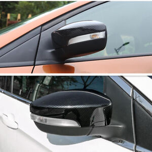 FIT For Ford Escape Kuga 2013-2018 Carbon Fiber Style Rearview Mirror Cover Trim