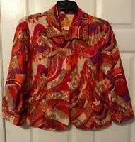 Ruby Road Women Jacket Denim 3/4 Sleeve Cotton Colorful Print Button Size 12