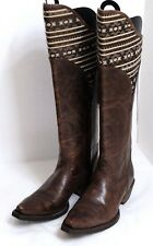 NWT Ariat Women's Size 7B Distressed Brown Leather Western Back Zipper Boots