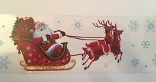 2m Santa Sleigh Window Border Cling Sticker Xmas Vintage Christmas Decorations
