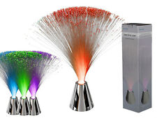 FIBRE OPTIC LAMP WITH CHROME BASE/ MULTI CHANGING COLOURS/ BATTERY OP LIGHTING
