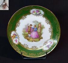 E très belle assiette ancienne porcelaine Limoges  scène galante romantique 19cm