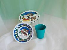 Vintage Melmac Christmas Children's Dinner Plate Bowl & Cup Set