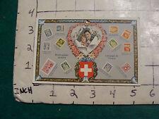vintage unused SWISS VALENTINE'S POSTCARD w pics of Stamps, ODD