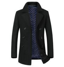 Mens Pea Wool Coat Vintage Navy Jacket Padded Lined Black Grey