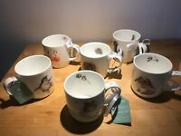 UPDATED 6 Brand New Unused Royal Worcester Wrendale Fine Bone China mugs bid now