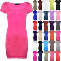 Womens Mini Dress Ladies Plain Stretchy Bodycon Short Cap Sleeve Top Plus Size