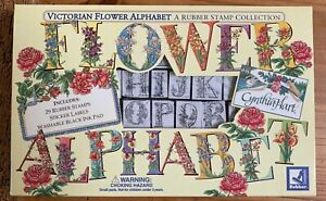 Cynthia Hart Rubber Stampede Victorian Flower Alphabet Stamps Set in Box