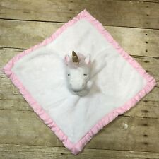 Carters Security Blanket Pink Unicorn Plush Lovey Toy Baby Girls 0+ Mos