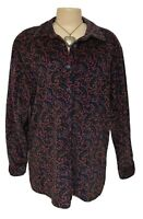 Womens Top L Large Vintage Velvet Tunic Retro Red Paisley Gorgeous Winter Deal