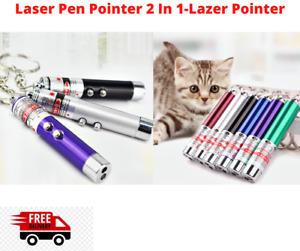 Laser Pen Pointer 2 In 1-Lazer Pointer -LED Torch Keyring 1mW - 650nm Pet Toy UK