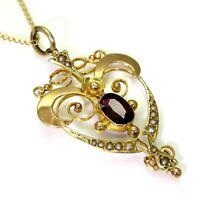 "Edwardian Rhodolite Garnet & Pearl 9ct Rose Gold Necklace Pendant 16"" Chain"