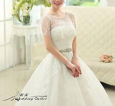Bridal luxury wedding lace shrug wrap shawl jacket with bead one size white