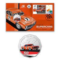 Australia 2020 PNC Supercars Chevrolet Camaro ZL-1 Stamp & 50c Coloured UNC Coin