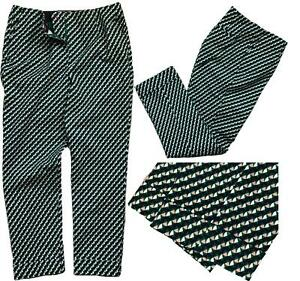 BODEN Women Kensington Turn-up Trousers FOREST GREEN Graphic Geometric 14-22 £65