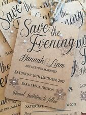 Wedding Save the Date Cards | Christmas | Snowflake | Kraft | Rustic | Vintage