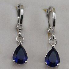 Simple Nice Blue Sapphire Drip Gems Jewelry Gold Filled Hoop Lady Earrings h2826