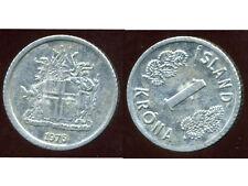 ISLANDE 1 krona 1976  frappe décalée (  Moved strike(typing)  ( Strike færst )