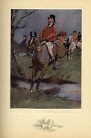 FOX HUNTING, HORSES JUMPING THE BROOK ANTIQUE COLOR 1909 PRINT, SPORTING HUNT