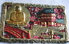Buddha metal plaque with asian garden dragon edge Vtg
