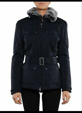 BELSTAFF SKYLARK Black Down Belted Jacket With Rabbit Fur Collar 42 / UK 8 10