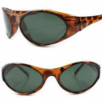 True Vintage Classic Old Stock Green Lens Tortoise Wrap Around Oval Sunglasses