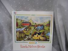"Jigsaw puzzle Linda Nelson Stocks Series 4 covered bridge  1000 pieces 27""x 20"""