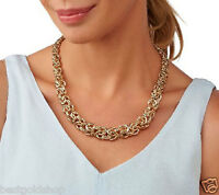 "18"" Bold Textured Graduated Byzantine Chain Necklace Real 14K Yellow Gold QVC"