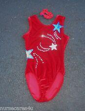 Baton Twirling Skate/Dance Costume Red Velour Blue/Sil Stars Stones Adult Small
