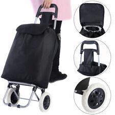 Large Capacity Light Weight Wheeled Shopping Trolley Push Cart Bag New Black