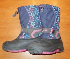 KAMIK Girls' Winter Snow Boots, Blue & Pink w/ flowers size 7