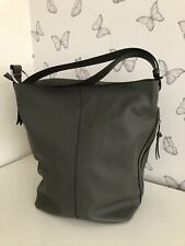 Large grey hobo bag zip top and side pocket