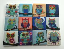 Ceramic Mosaic Tiles - 12 Piece Mixed Set - Mixed Owl Art Designs Mosaic Tiles