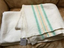 "VINTAGE MID 20TH C 100% WOOL GREEN & YELLOW STRIPE / CREAM BLANKET  58"" x 90"""