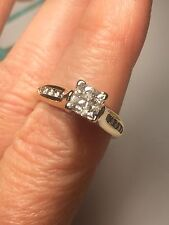 14k Yellow Gold Diamond Solitaire Ring Princess Cut Size 6.5