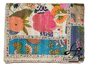 Indian Cotton Kantha Quilt Handmade Bedspread King Ralli Patchwork Lace Coverlet