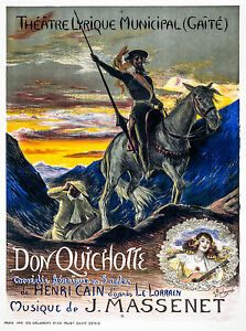 Old Vintage Theatre Poster Don Quichotte - Fade Resistant HD Print or Canvas