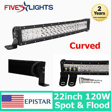 CURVED 22INCH 120W EPISTAR LED LIGHT BAR  DRIVING OFFROAD 4WD JEEP SPOT FLOOD 23
