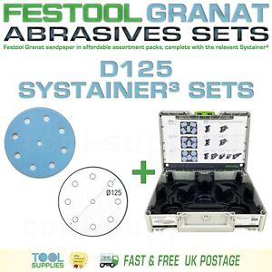 Festool GRANAT D125 Sandpaper Systainer³ Sets - RO 125 ETS EC LEX 3 ROTEX 125mm