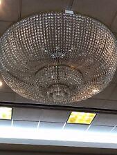 "Wide Flushmount Crystal Glass Chandelier 72"" w"